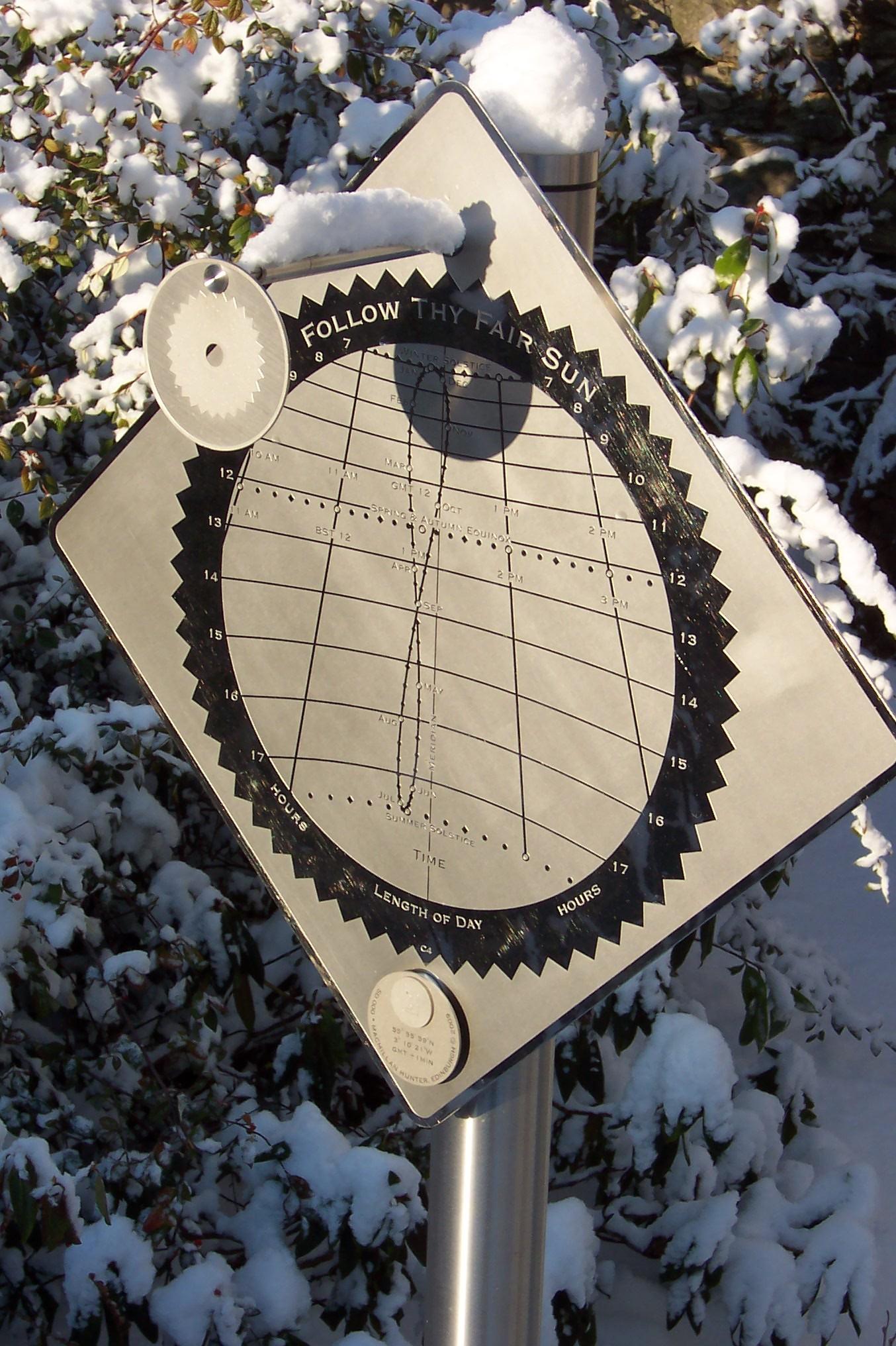 Sundial in Edinburgh at winter solstice