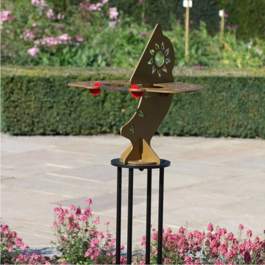 A double sundial in a sculpture garden