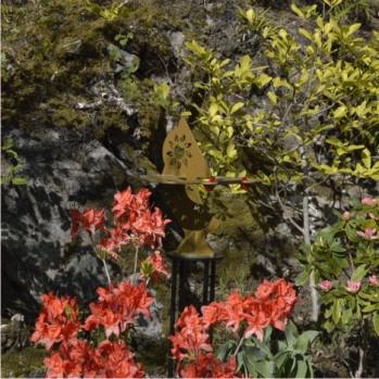 Dihelion double sundial in sculpture garden at Caol Ruadh, Argyll, Scotland.