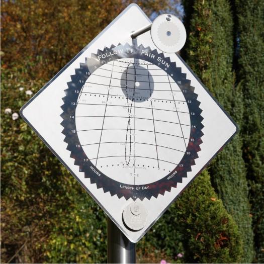 A freestanding vertical sundial