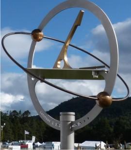 Orbdial sundial against a blue sky at Blair Horse Trials 2014
