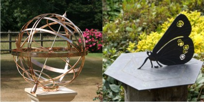 Two beautiful sundials, a bronze armillary sphere and a butterfly gnomon on a horizontal dial.