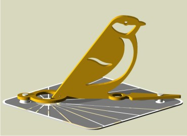 New sundial for the garden with a songbird sculpture as its gnomon
