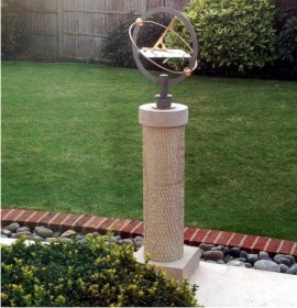 Beau Pillar Pedestal Built In Scottish Sandstone In A South Downs Garden