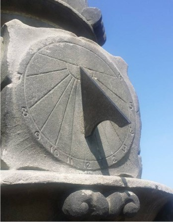 South dial restored with new bronze gnomon and stone conservation