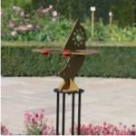 Double sundial in sculpture garden