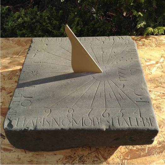 Ancient sundial stone after restoration