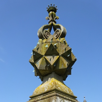 Sundial at Glamis Castle with 80 dials on the polyhedron
