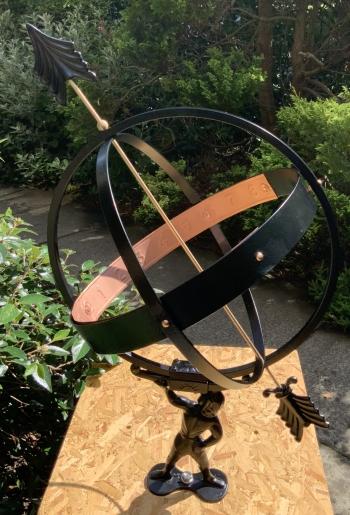 Armillary sundial and Atlas figure after restoration
